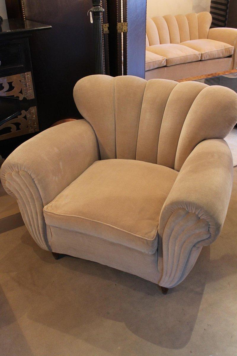 italian velours living room set 1950s set of 3 for sale at pamono. Black Bedroom Furniture Sets. Home Design Ideas