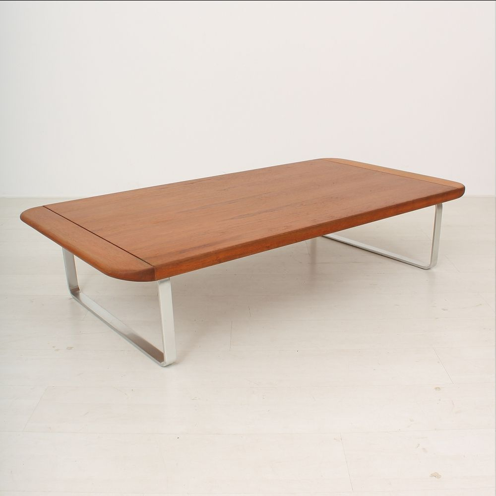 table basse en teck et en aluminium 1960s en vente sur pamono. Black Bedroom Furniture Sets. Home Design Ideas