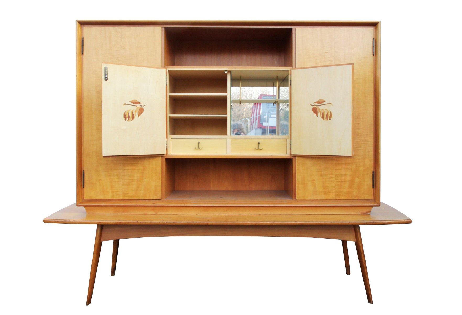 German Cherry Wood Bar Cabinet for sale at Pamono