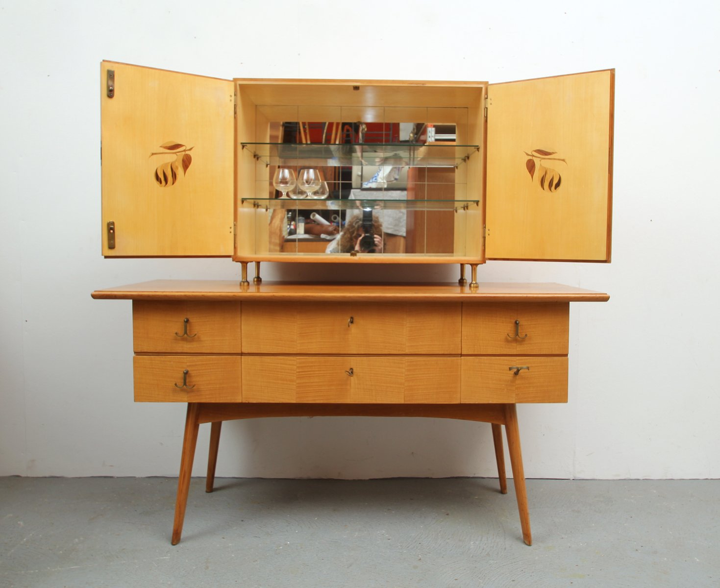 Cherry Wood Sideboard and Bar Cabinet, 1950s for sale at Pamono