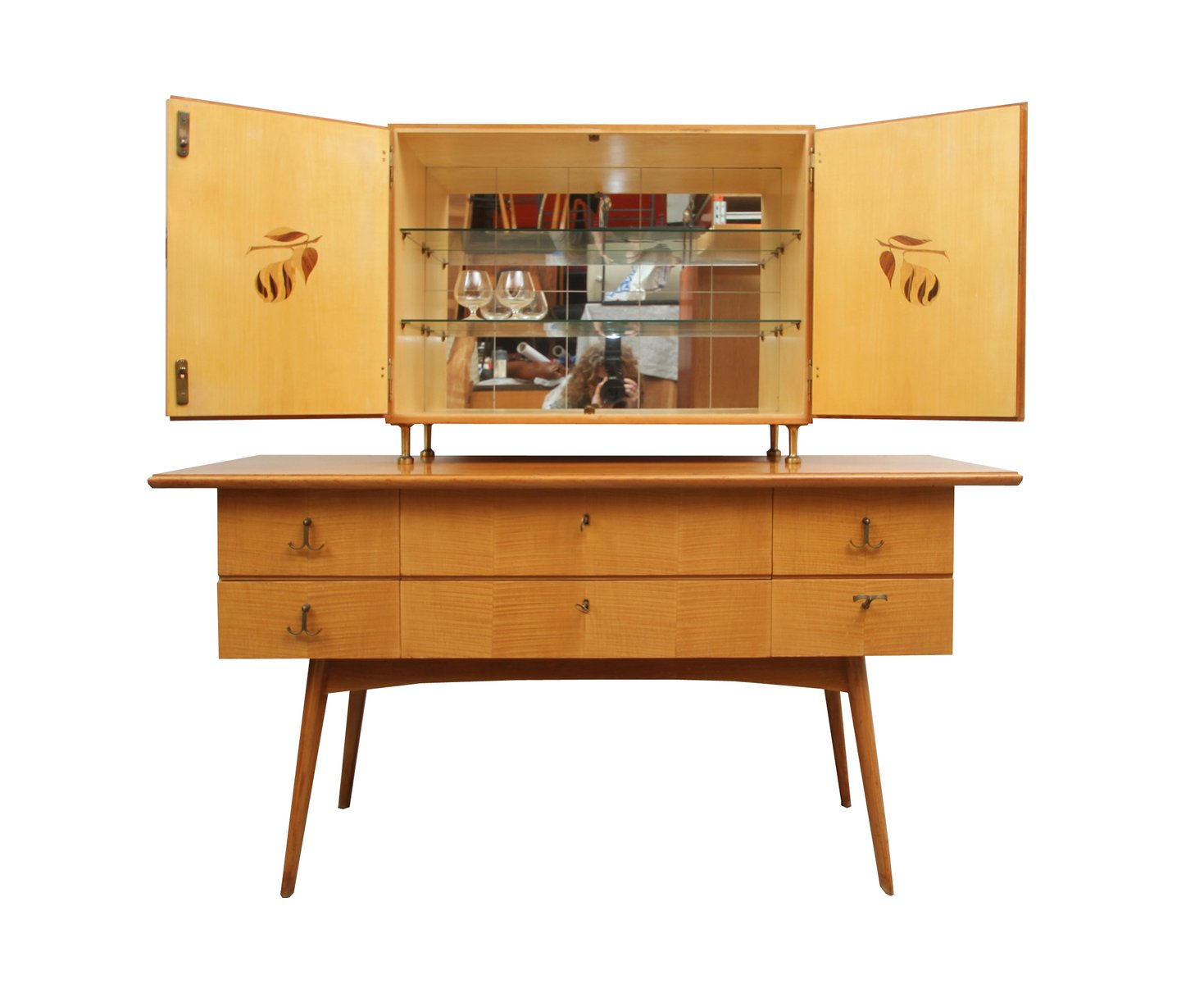 cherry wood sideboard and bar cabinet 1950s for sale at pamono. Black Bedroom Furniture Sets. Home Design Ideas