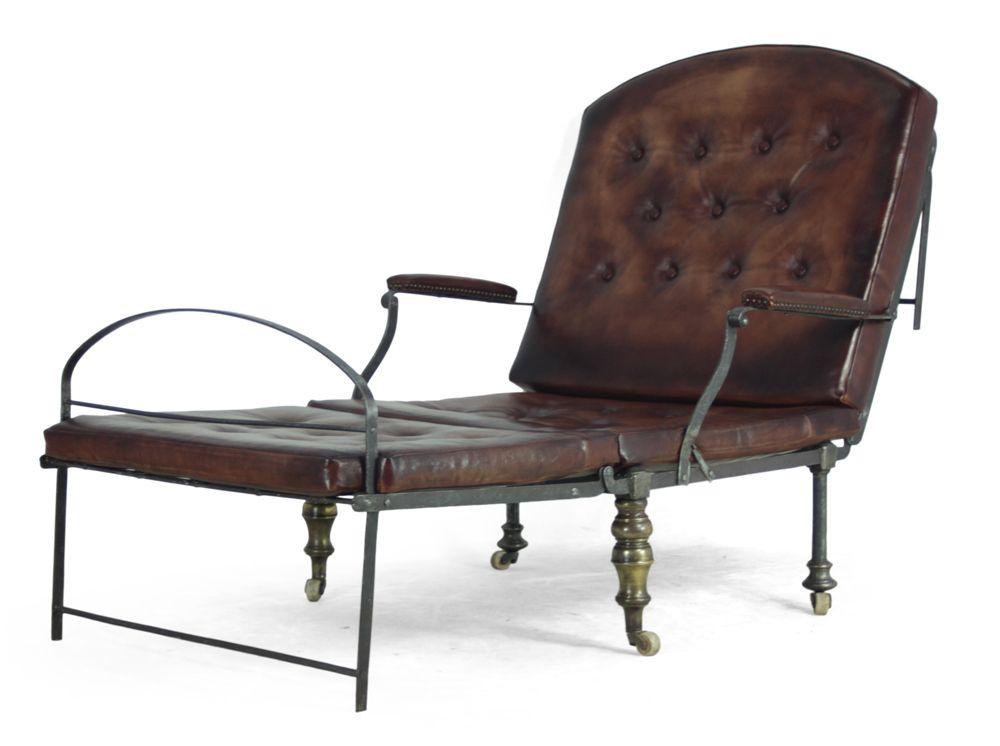 Chaise de campagne victorienne en acier laiton et cuir en - Chaise de campagne ...
