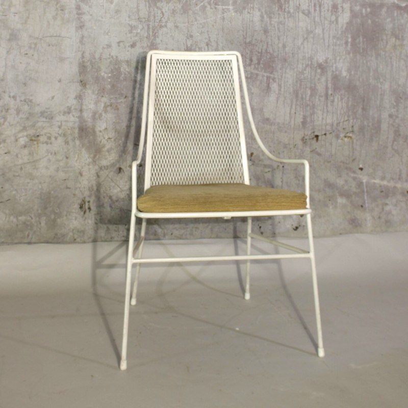 Vintage Metal Chair With Footstool 1950s For Sale At Pamono