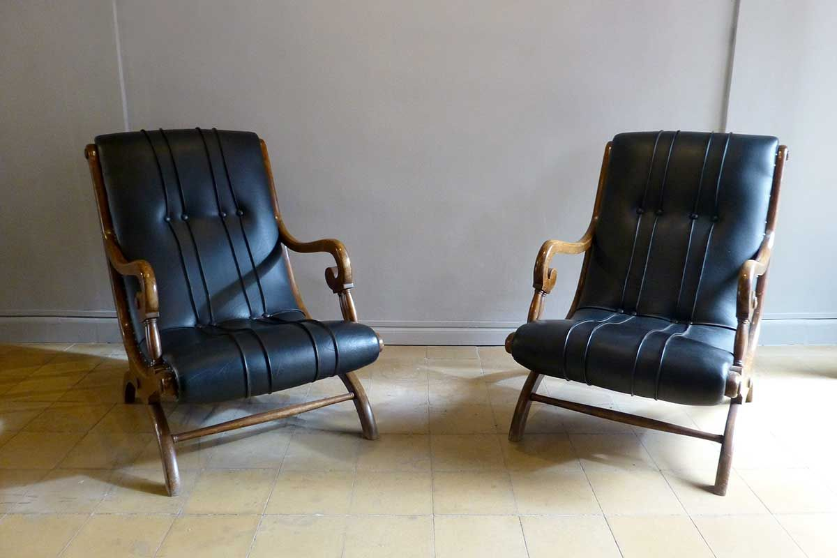 vintage wood and leather lounge chairs set of 2 for sale. Black Bedroom Furniture Sets. Home Design Ideas