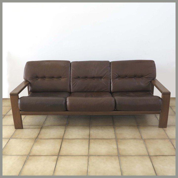deutsches vintage 3 sitzer ledersofa bei pamono kaufen. Black Bedroom Furniture Sets. Home Design Ideas