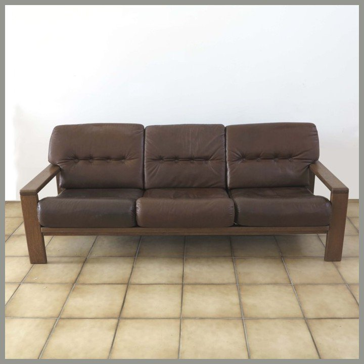 Vintage German Three Seater Leather Sofa For Sale At Pamono