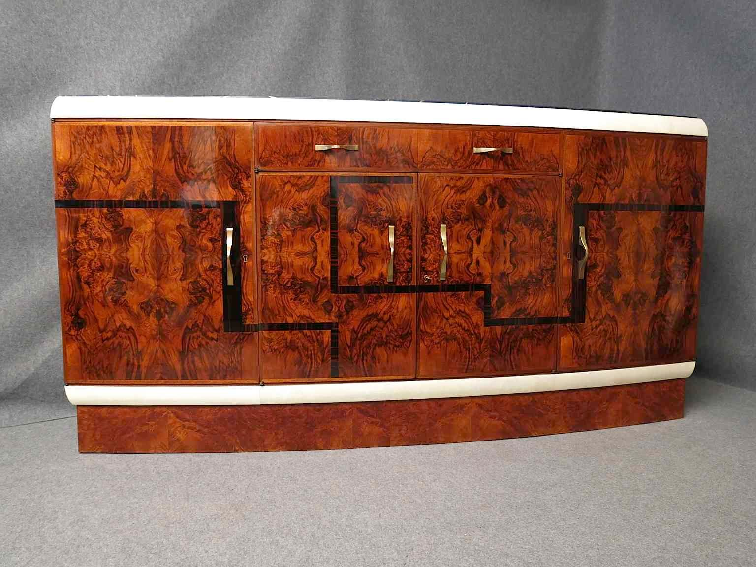 italian art deco walnut and marble buffet for sale at pamono. Black Bedroom Furniture Sets. Home Design Ideas