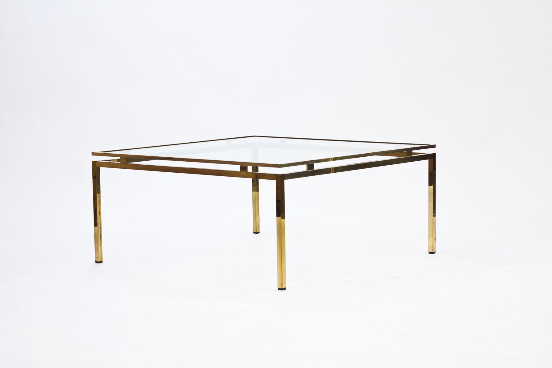 table basse vintage en verre et laiton su de 1970s en vente sur pamono. Black Bedroom Furniture Sets. Home Design Ideas