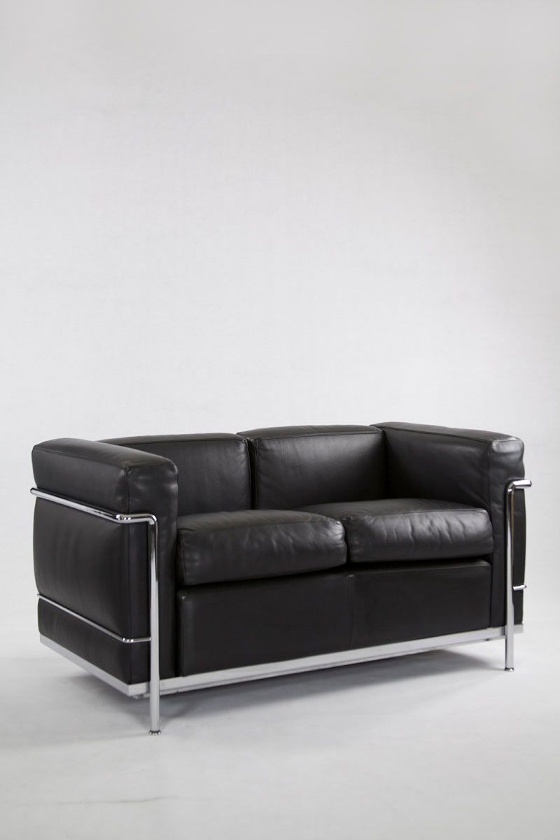 Vintage IC2 Two-Seater Leather Sofa from Cassina