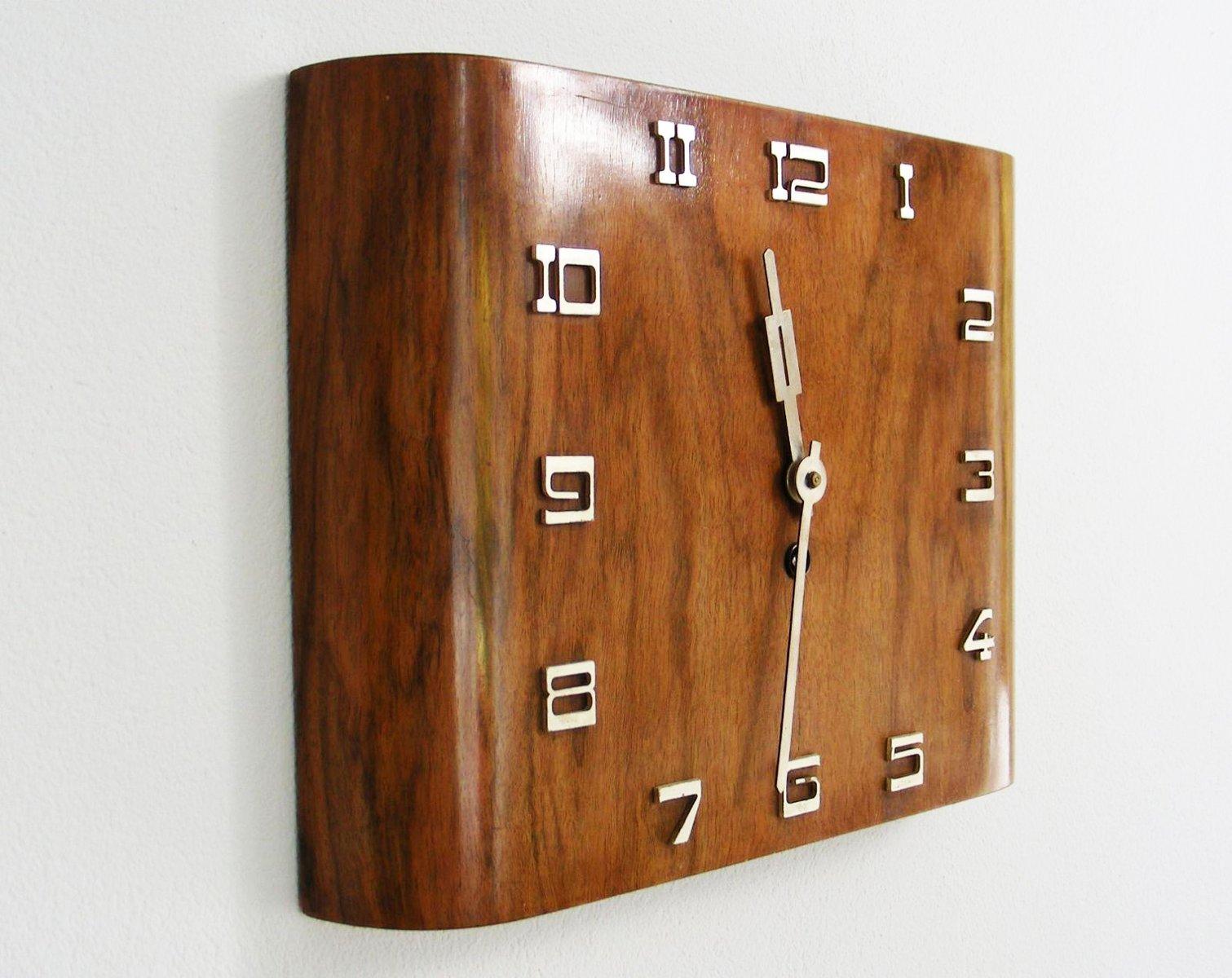 Art Deco Walnut Wall Clock from Kienzle for sale at Pamono