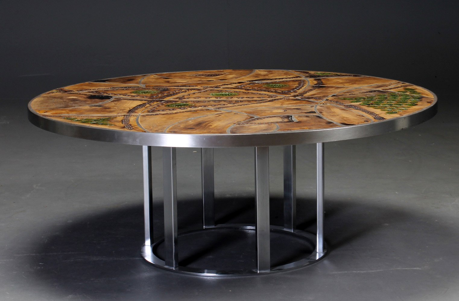 circular coffee table by lilly just lichtenberg for sale at pamono. Black Bedroom Furniture Sets. Home Design Ideas
