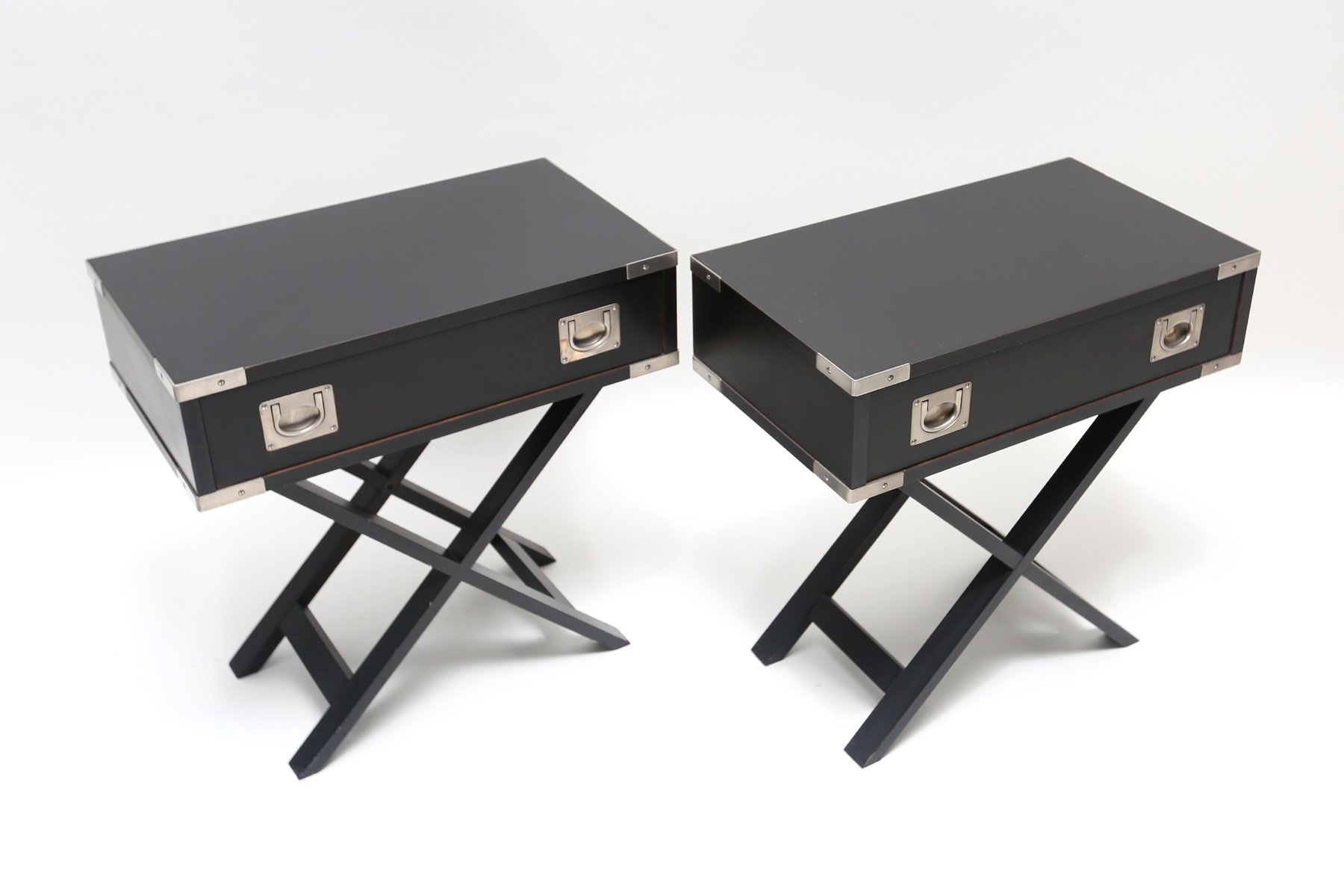 Black wooden side tables 1980s set of 2 for sale at pamono for Black wood end tables