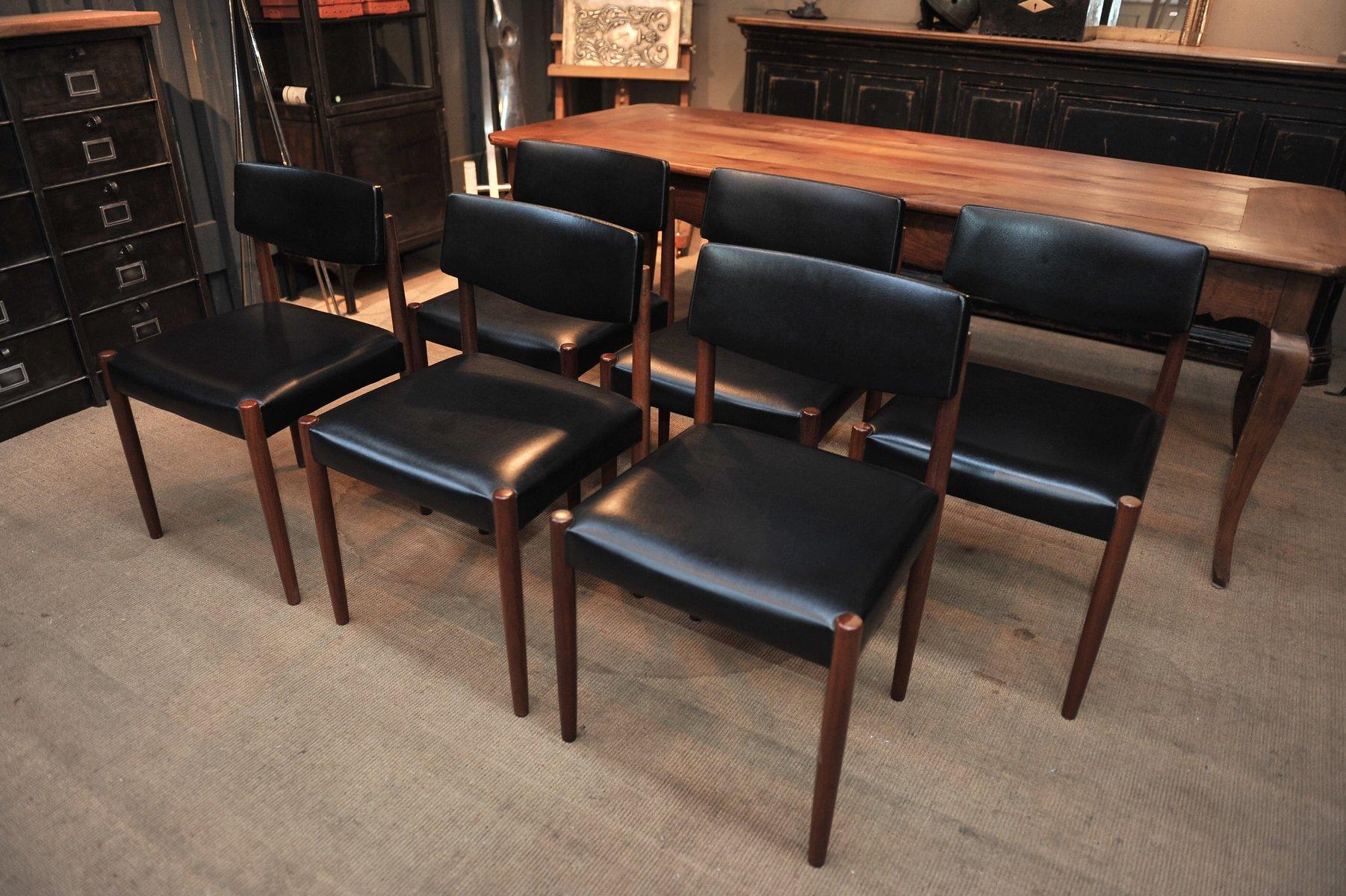 skandinavische mid century st hle aus teakholz kunststoff 1960er 6er set bei pamono kaufen. Black Bedroom Furniture Sets. Home Design Ideas