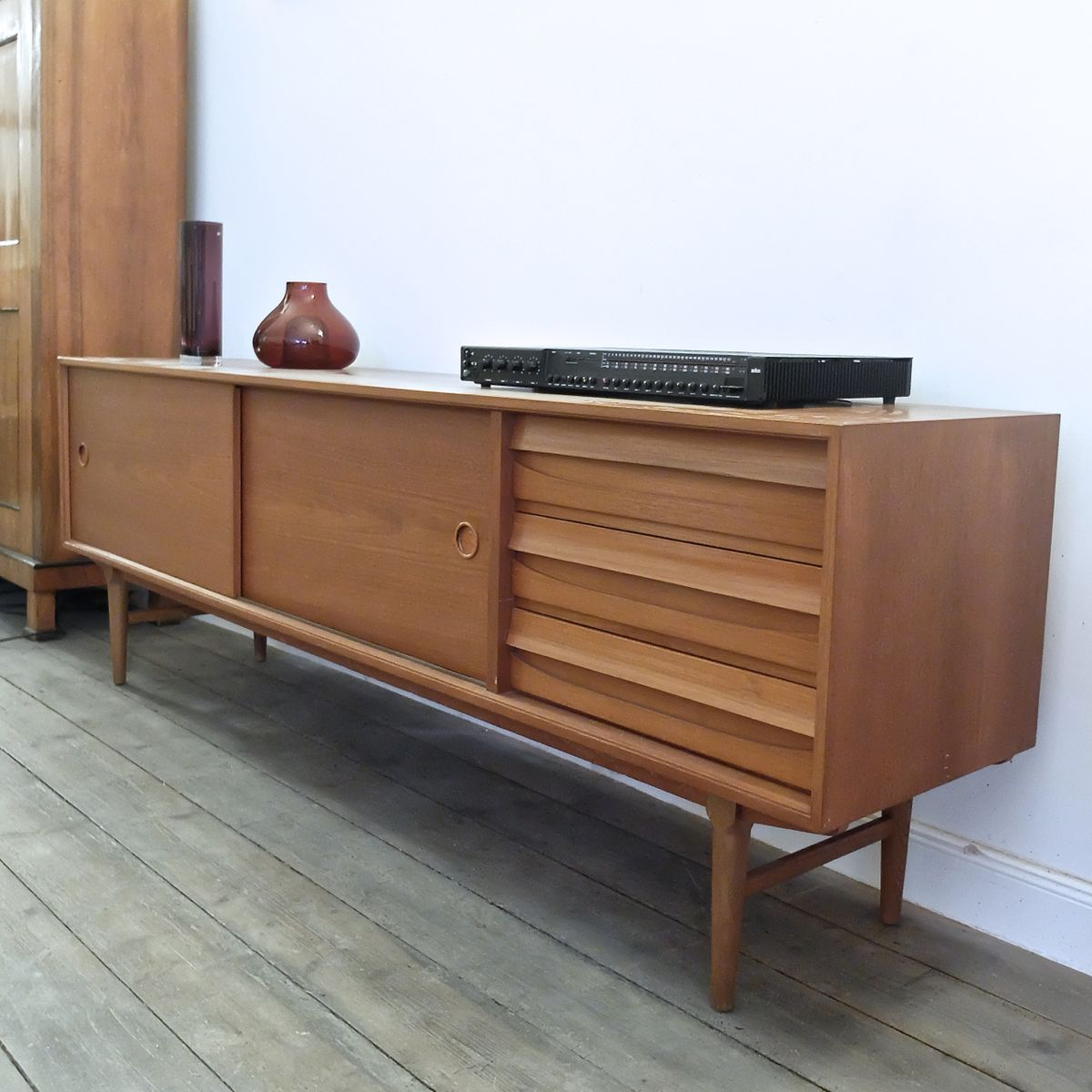 vintage sideboard in teak with sliding doors 1960s for. Black Bedroom Furniture Sets. Home Design Ideas