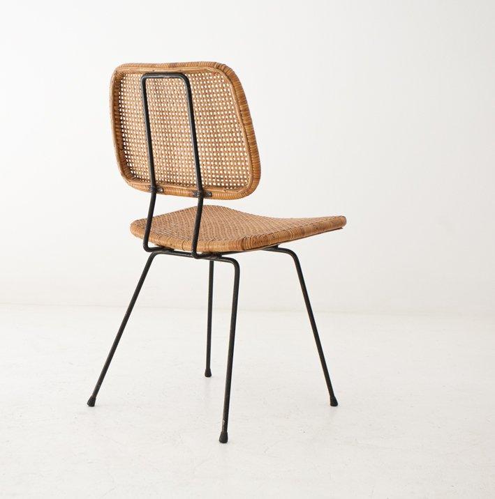 Chaises en fer et rotin 1950s set de 4 en vente sur pamono for Chaise rotin et fer