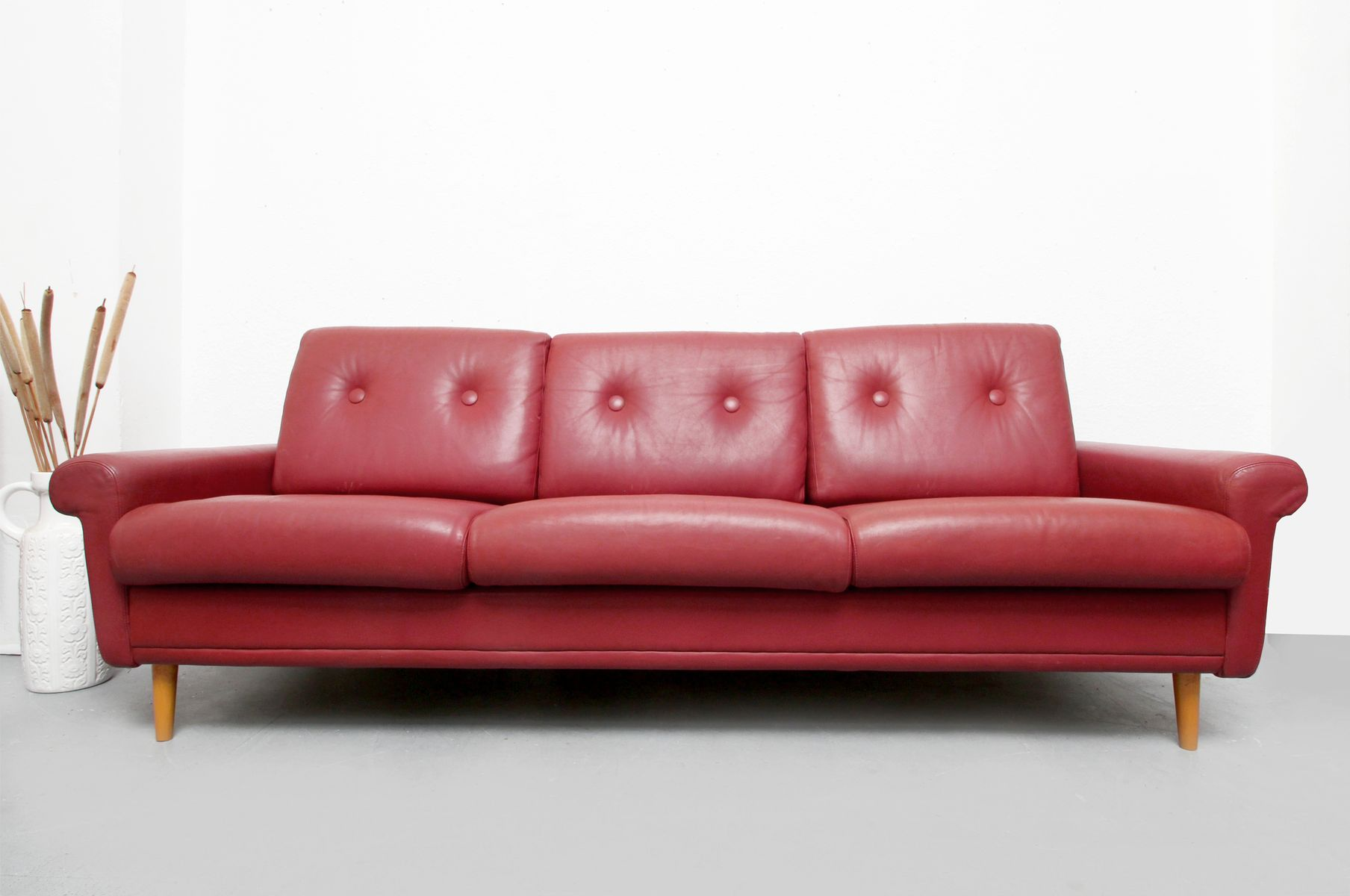 Red Brown Leather Sofa 1960s For Sale At Pamono