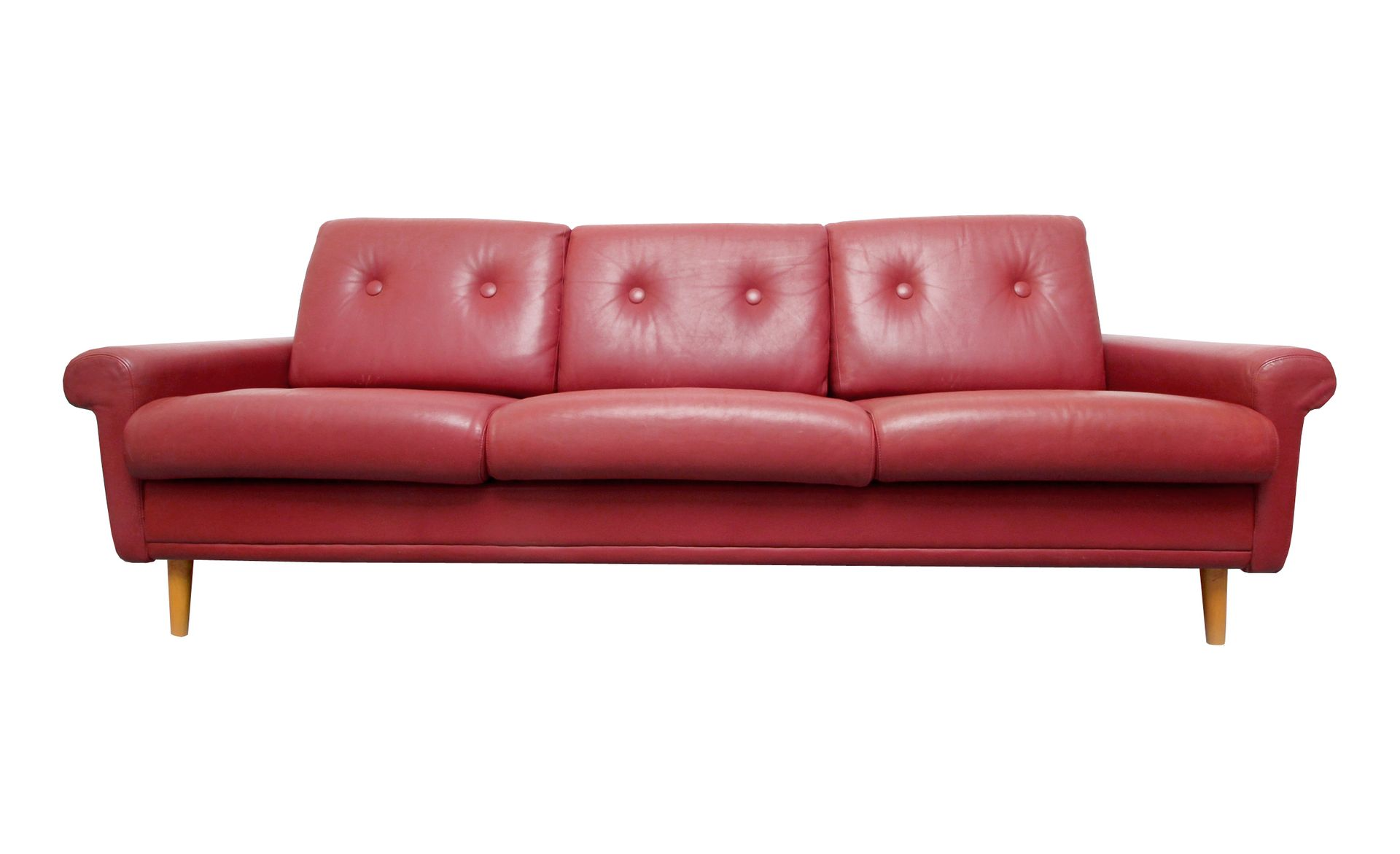 red brown leather sofa 1960s for sale at pamono. Black Bedroom Furniture Sets. Home Design Ideas