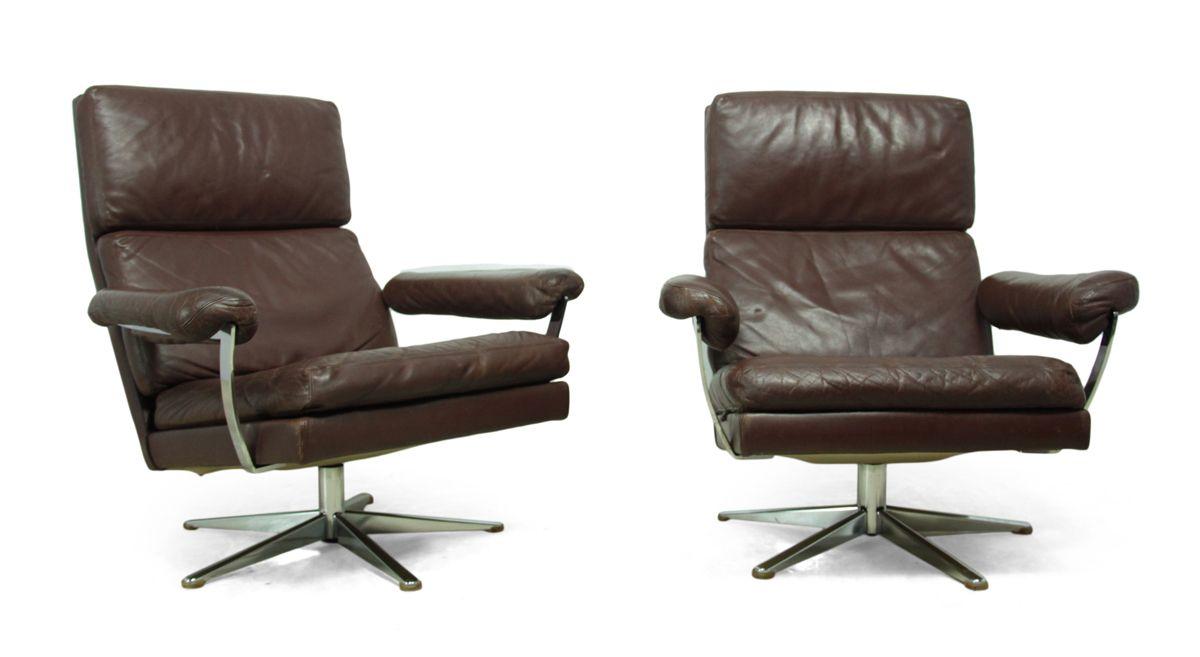 leder drehsessel mit hocker 1960er 3er set bei pamono kaufen. Black Bedroom Furniture Sets. Home Design Ideas