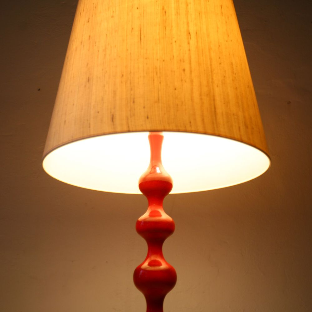 Red wooden floor lamp 1960s for sale at pamono for Wooden floor lamp for sale