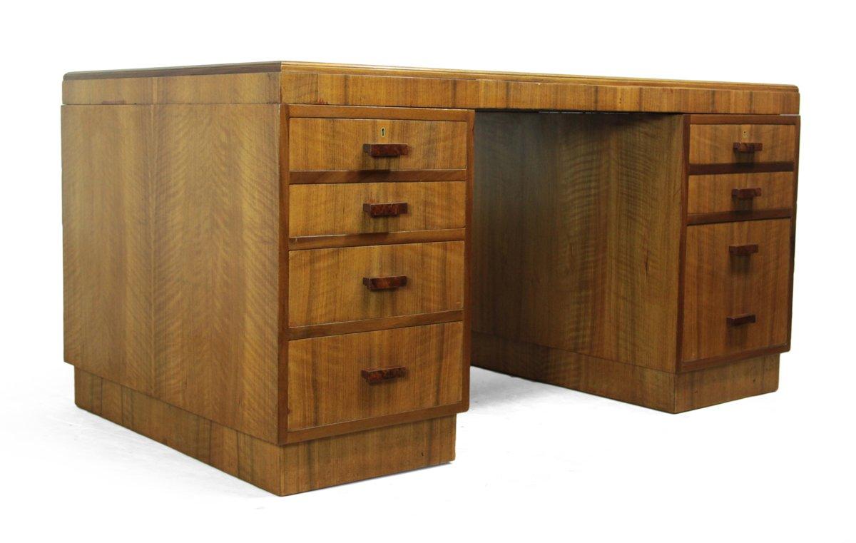englischer art deco schreibtisch aus nussholz 1930er bei pamono kaufen. Black Bedroom Furniture Sets. Home Design Ideas