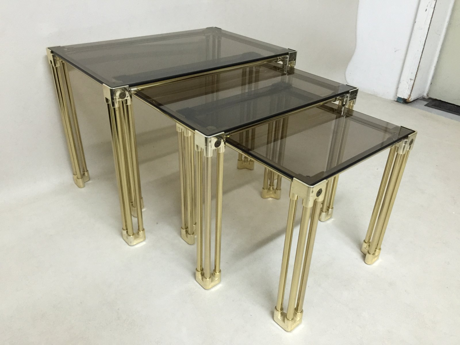 Golden smoked glass side tables for sale at pamono golden smoked glass side tables geotapseo Images