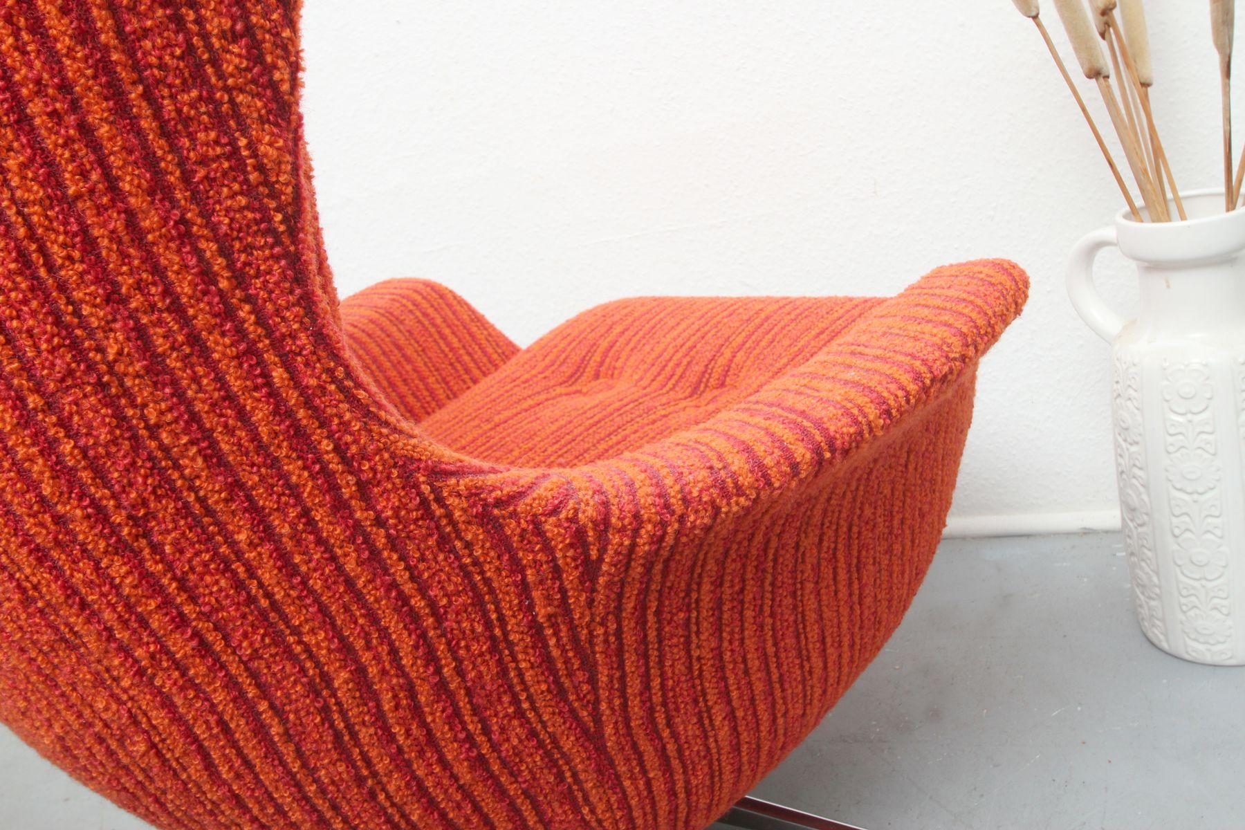 Orangefarbener Midcentury Egg Chair 1970er Bei Pamono Kaufen