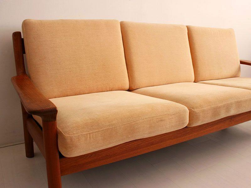 d nisches teakholz sofa von juul kristensen f r glostrup. Black Bedroom Furniture Sets. Home Design Ideas