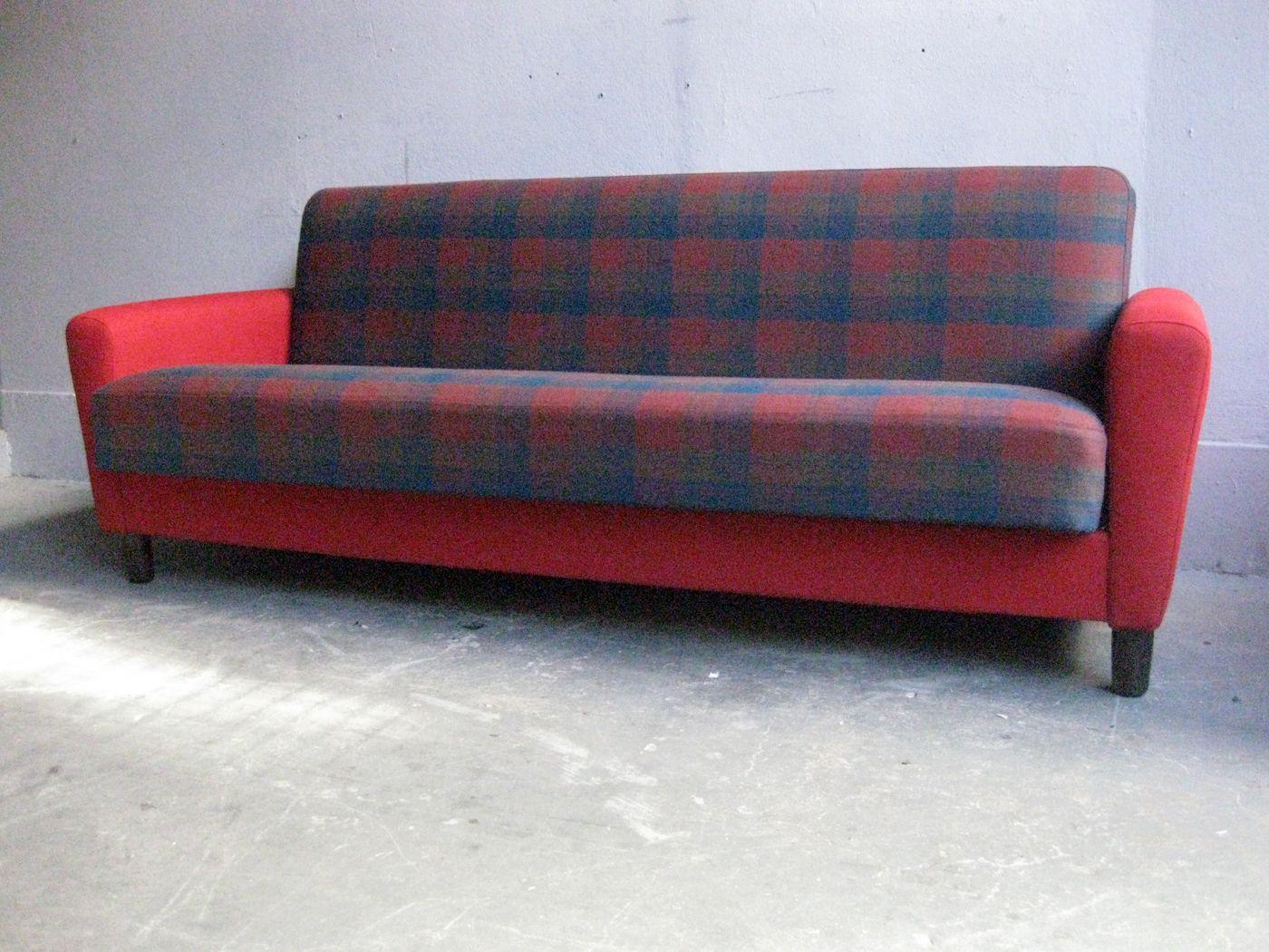 canap lit vintage en tissu tartan en vente sur pamono. Black Bedroom Furniture Sets. Home Design Ideas