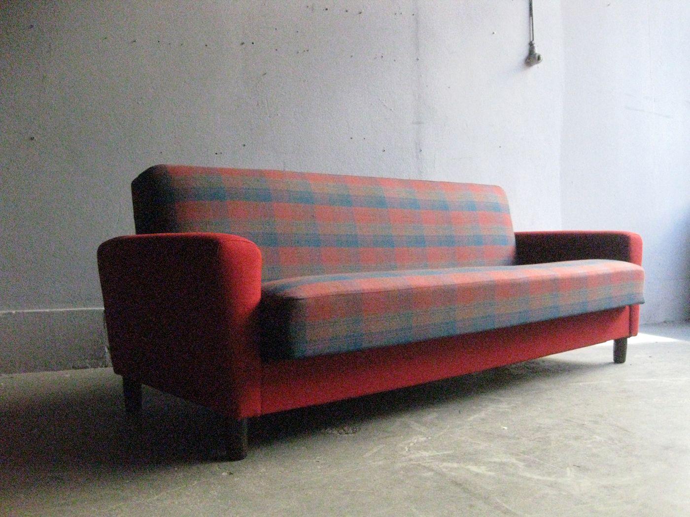 Canap lit vintage en tissu tartan en vente sur pamono for Canape lit en anglais