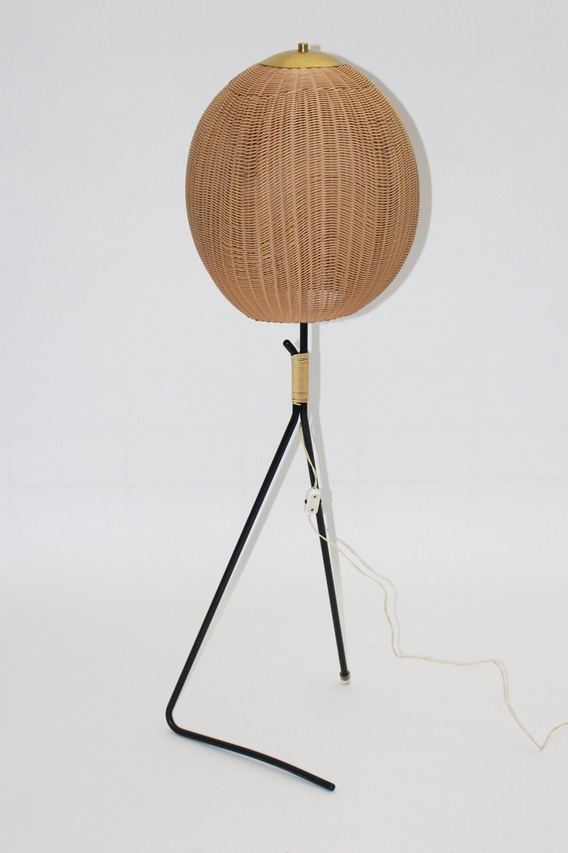 Vintage Austrian Floor Lamp With Rattan Shade, 1960s For Sale At Pamono