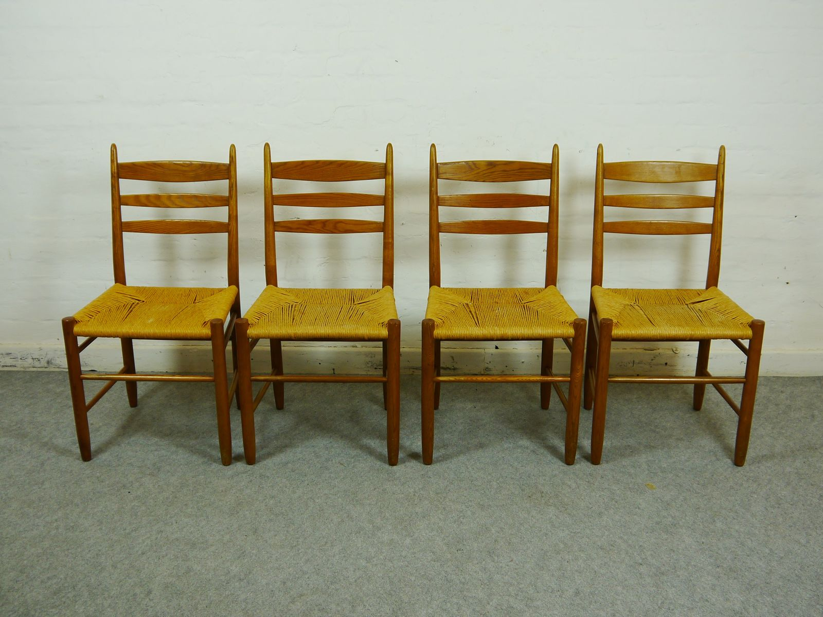 scandinavian oak and paper cord dining chairs set of 4 - Dining Chairs Set Of 4