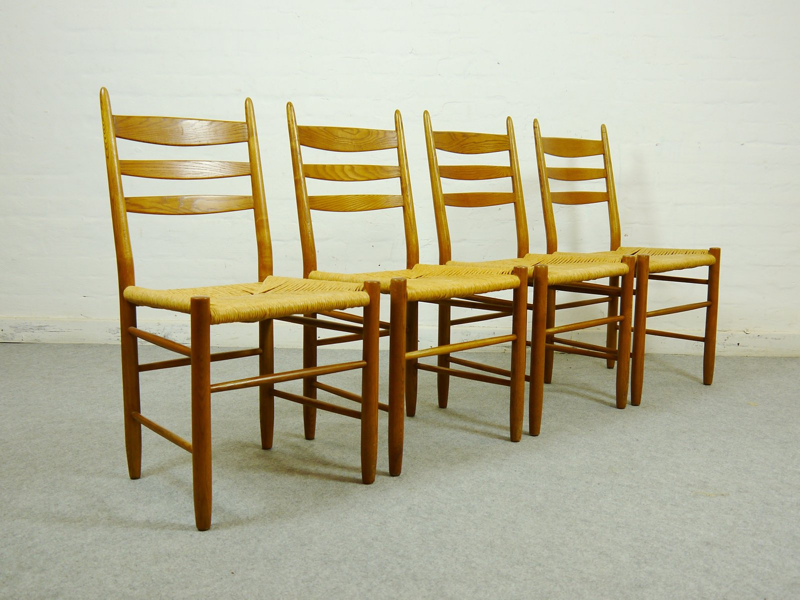 Scandinavian Oak and Paper Cord Dining Chairs Set of 4 for sale