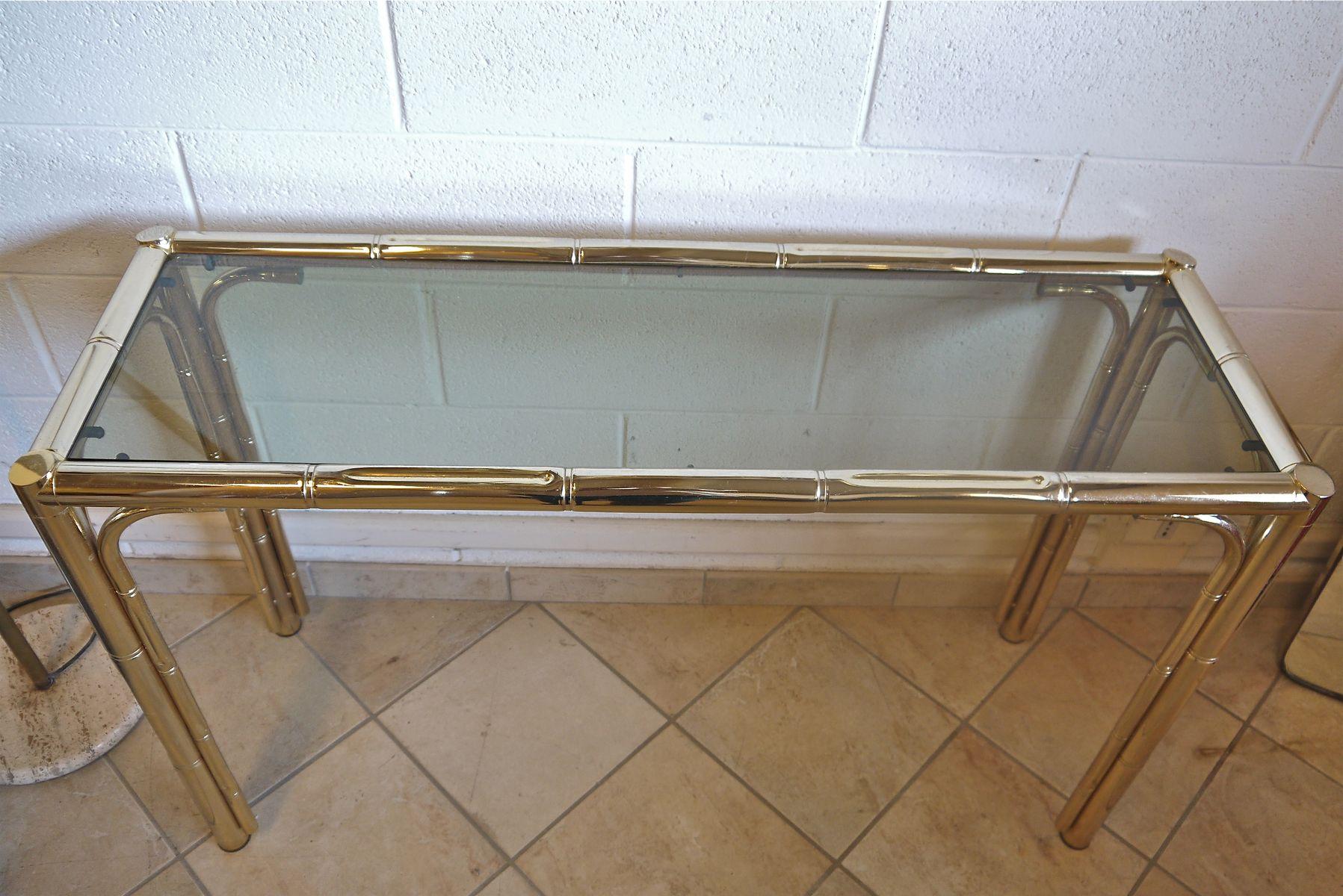 messing beistelltisch in bambus optik bei pamono kaufen. Black Bedroom Furniture Sets. Home Design Ideas