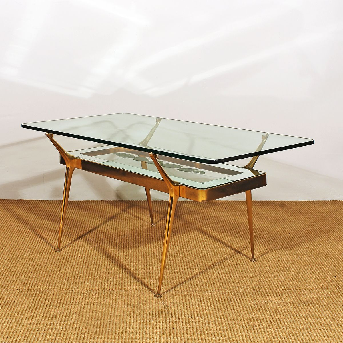 italienischer couchtisch aus glas messing 1950er bei. Black Bedroom Furniture Sets. Home Design Ideas