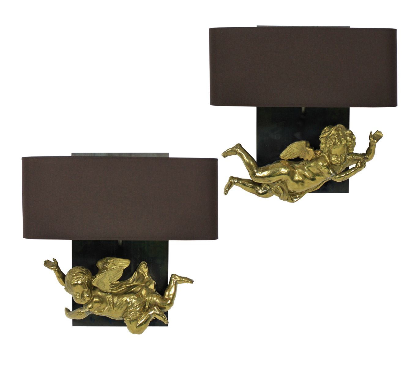 Antique French Cherub Wall Sconces, Set of 2 for sale at Pamono