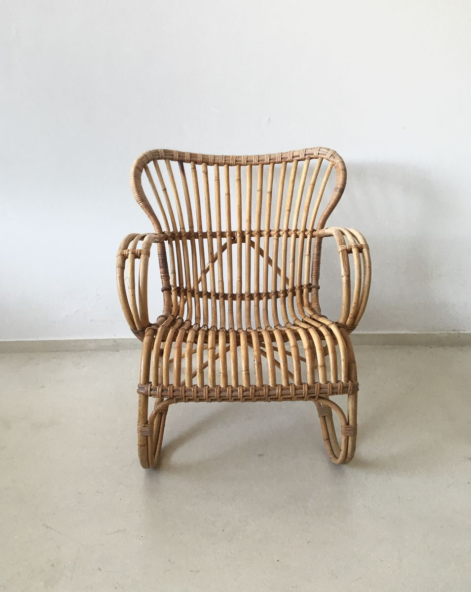 Rattan Lounge Chair by Dirk van Sliedregt for Rohé 1960s