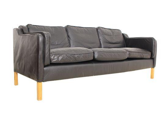 schwarzes leder dreisitzer sofa von dansk m belproducent bei pamono kaufen. Black Bedroom Furniture Sets. Home Design Ideas