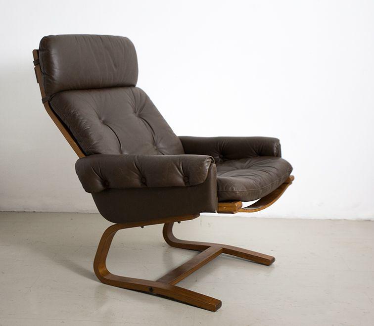 norwegischer leder lounge stuhl 1960er bei pamono kaufen. Black Bedroom Furniture Sets. Home Design Ideas