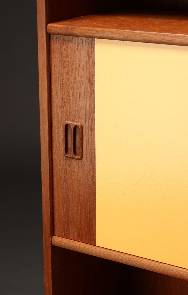 Danish teak bookshelf with sliding doors 1960s for sale for Sliding doors for sale