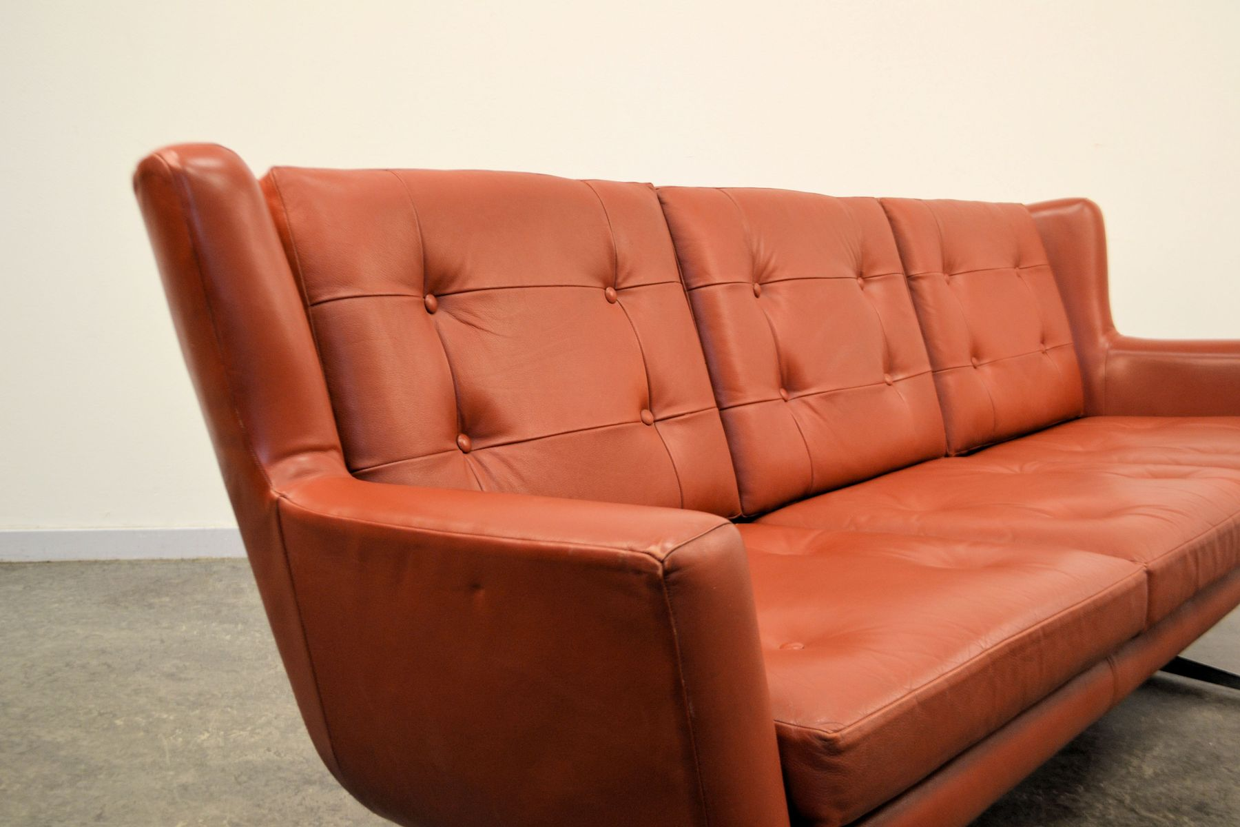 Three Seater Leather Sofa By Skjold S Rensen For Sale At