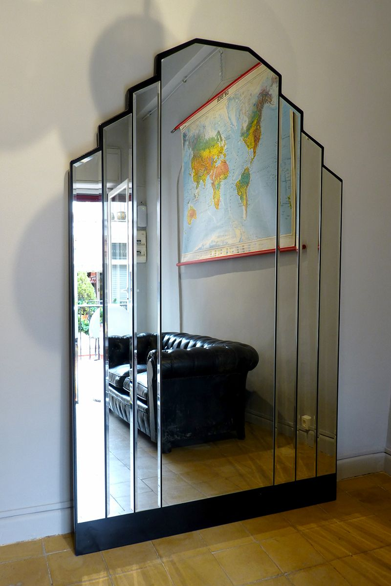 vintage art deco spiegel mit schr gen kanten bei pamono kaufen. Black Bedroom Furniture Sets. Home Design Ideas
