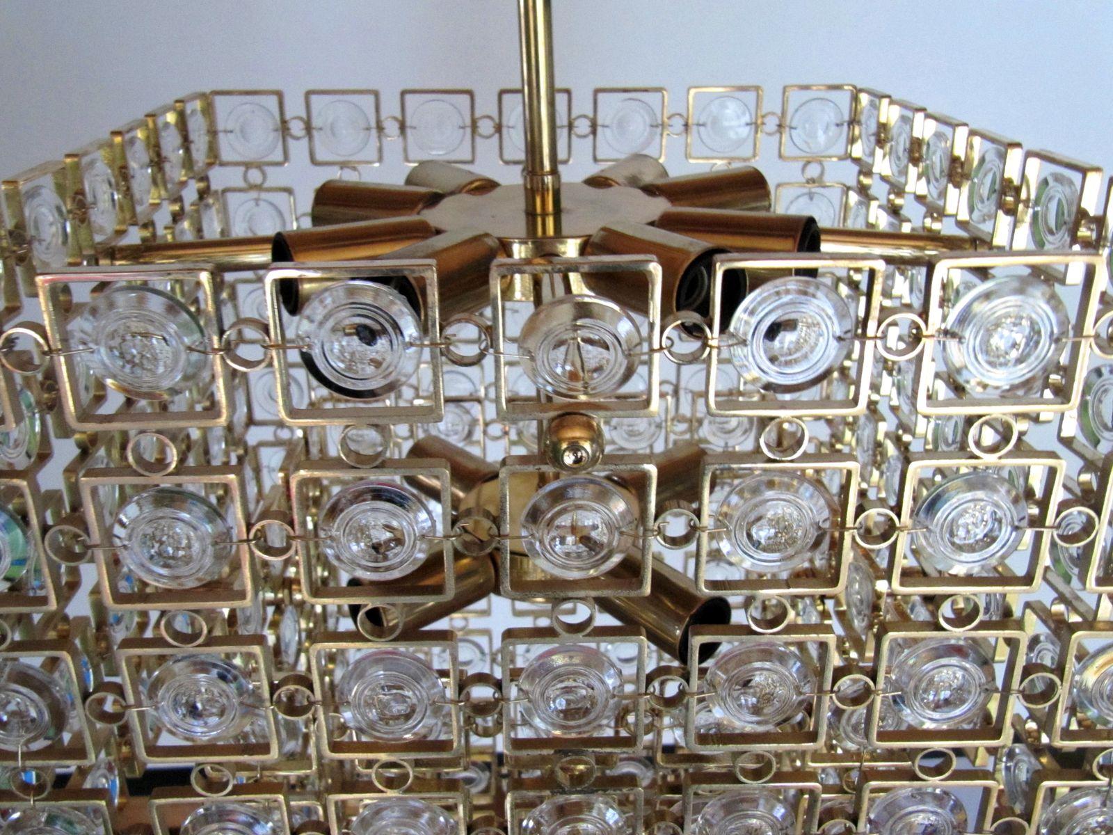 gro e h ngelampe aus vergoldetem messing kristall von. Black Bedroom Furniture Sets. Home Design Ideas
