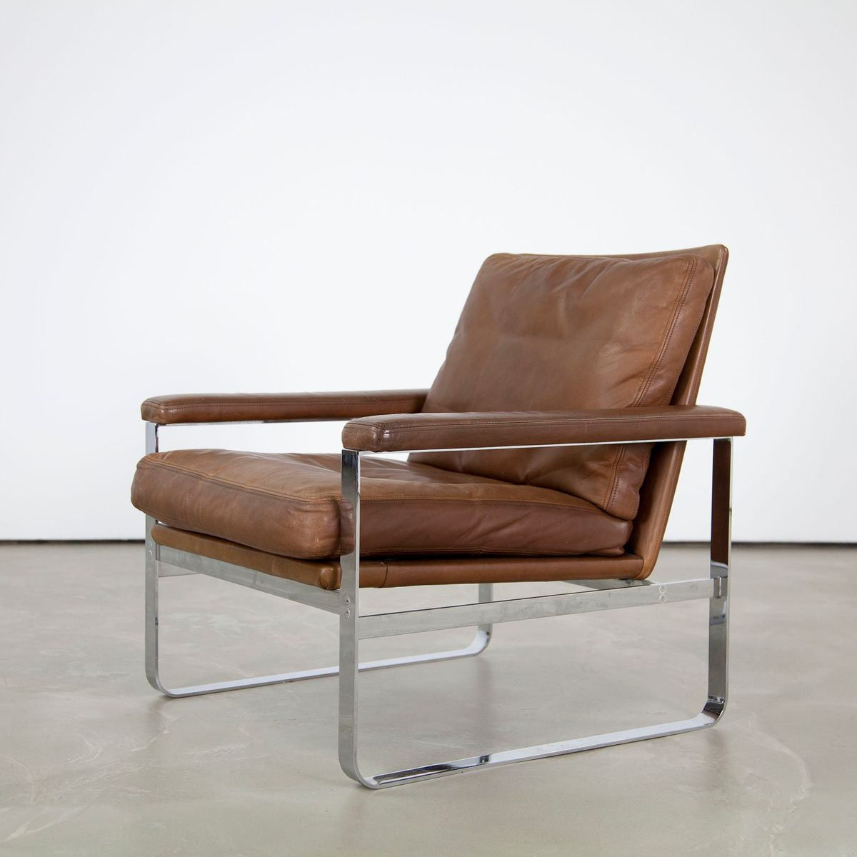 Danish Leather Armchair Danish Leather Armchair With Steel Frame For Sale At Pamono