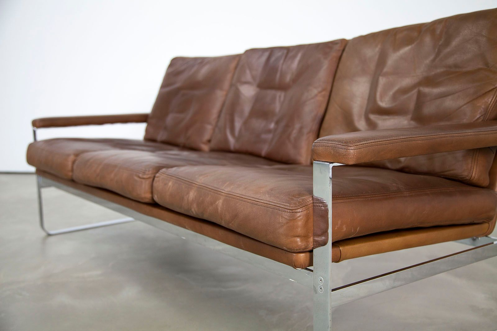 Danish Leather Sofa With Steel Frame For Sale At Pamono