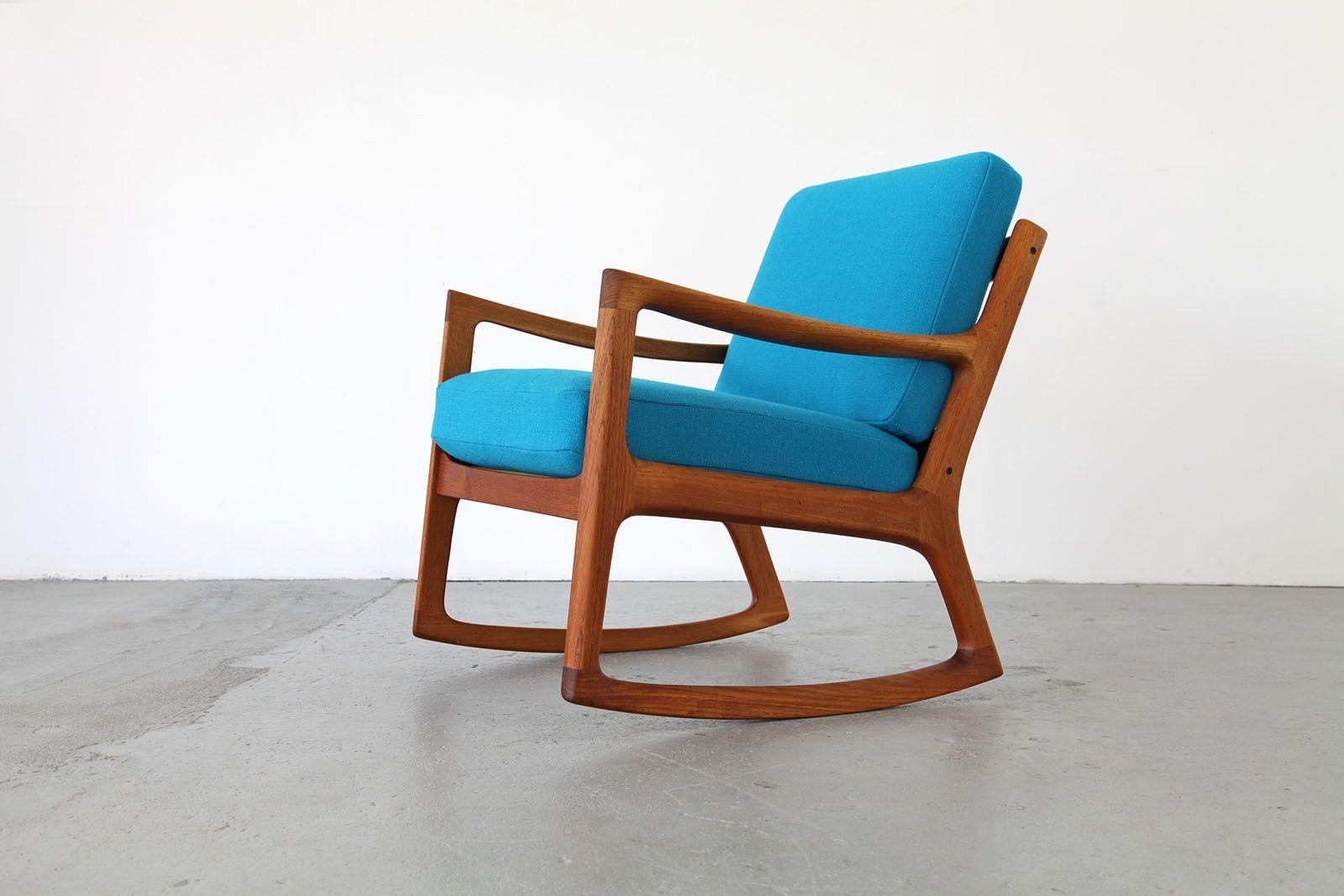 teak rocking chair by ole wanscher with kvadrat hallingdal. Black Bedroom Furniture Sets. Home Design Ideas