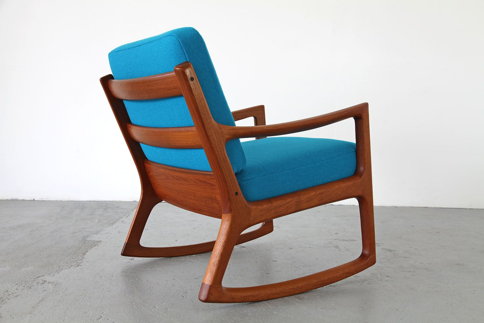 Teak Rocking Chair by Ole Wanscher with Kvadrat Hallingdal Fabric for ...