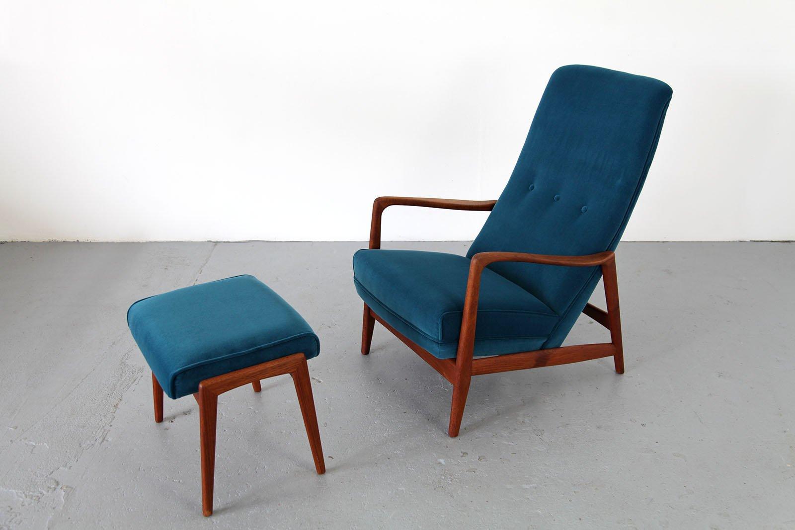 mid century sessel mit fu hocker von gio ponti f r cassina bei pamono kaufen. Black Bedroom Furniture Sets. Home Design Ideas