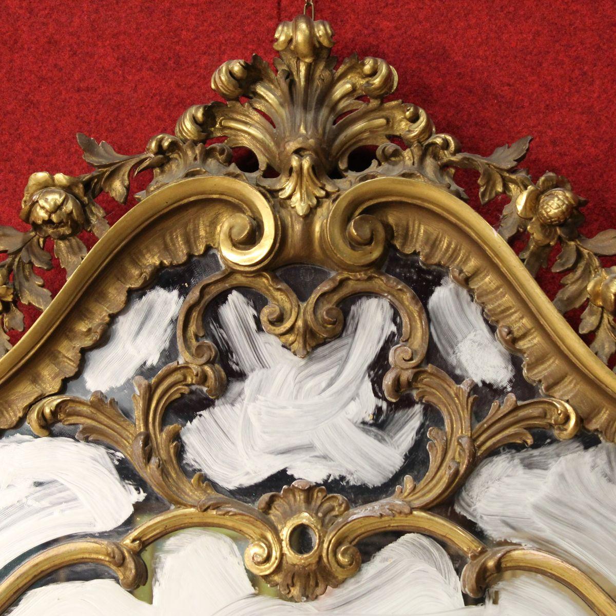 goldener vintage spiegel aus italien bei pamono kaufen. Black Bedroom Furniture Sets. Home Design Ideas