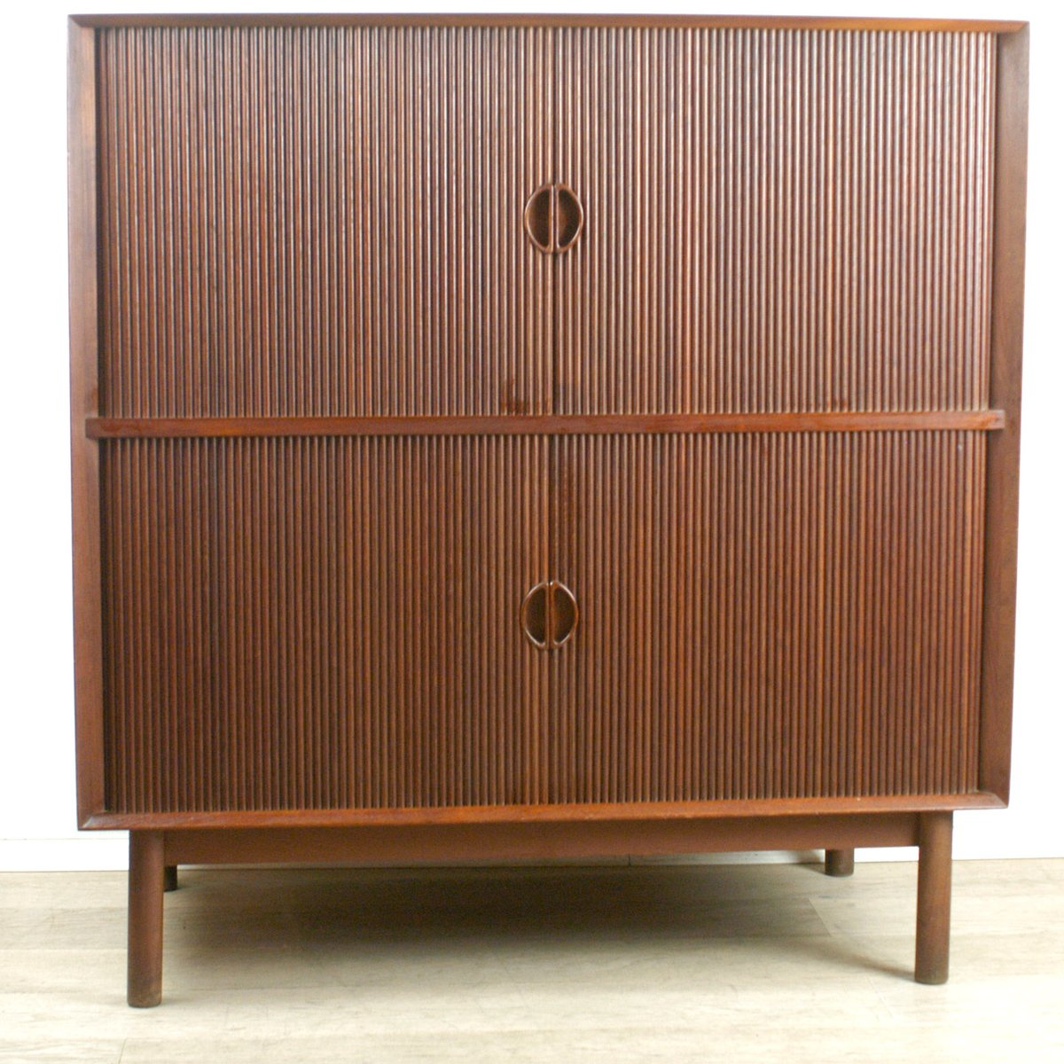 Teak Tambour Door Cabinet by Peter Hvidt for Soborg, 1960s for ...