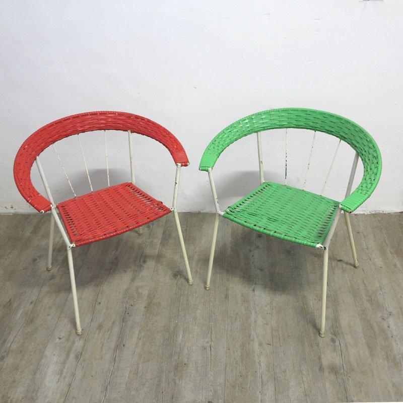deutsche vintage gartenst hle in rot gr n 2er set bei. Black Bedroom Furniture Sets. Home Design Ideas